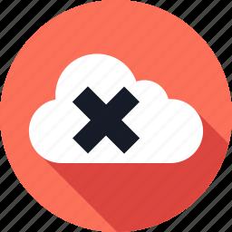 cloud, cross, data, delete, storage, weather, x icon