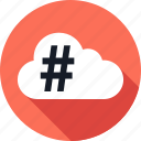 cloud, data, hashtag, save, weather icon