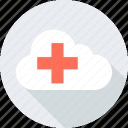 add, cloud, data, plus, storage, weather icon