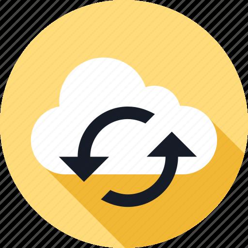 arrow, arrows, cloud, refresh, weather icon