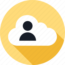 client, cloud, customer, person, server, user, weather icon