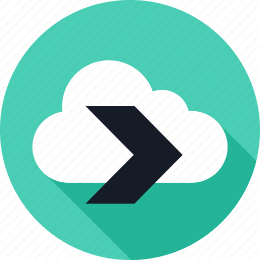 arrow, cloud, data, go, save, weather icon