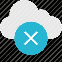 close, cloud, cross, delete, server, up, x icon