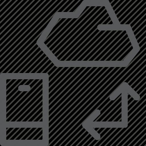 backup, cloud, database, icloud, mobile, phone, storage, transfer icon