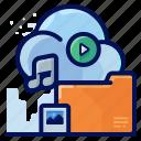 cloud, file, folder, media, multimedia
