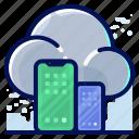 cloud, smartphone, storage, transfer icon