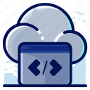 cloud, code, coding, programming, storage icon