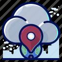 cloud, global, location, navigation, storage
