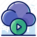 cloud, media, movie, multimedia, video icon