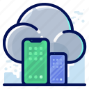 cloud, smartphone, storage, transfer icon