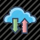 arrow, cloud, log, transaction icon