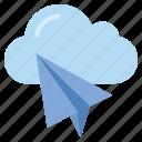 cloud, creativity, mail, paper plane, plane, send, storage