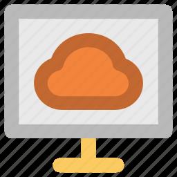 cloud, cloud computing, monitor icon
