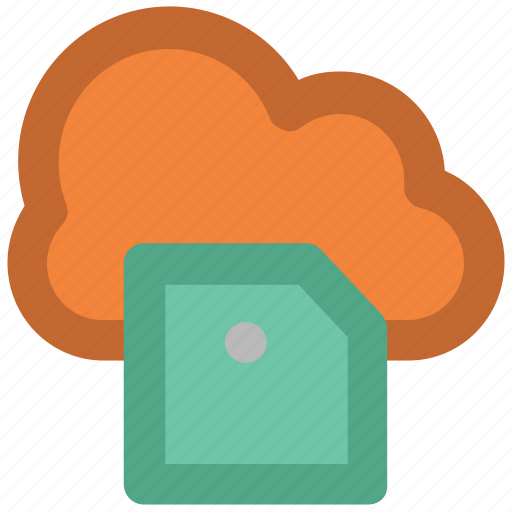 cloud network, digital storage, memory card, modern technology, sd card, wireless communication icon