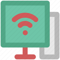 computer screen, connectivity concept, internet, internet coverage, network fidelity, wifi zone, wireless signals icon