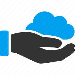 cloud, clouds, hand, offer, service, storage, wireless icon