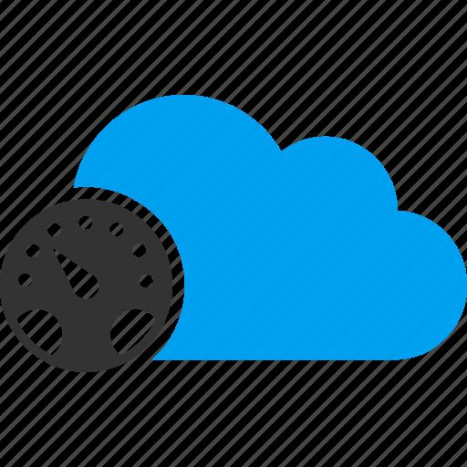 cloud, dashboard, gauge, measure, meter, ruler, speedometer icon