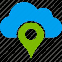 cloud, gps, location, map marker, navigate, navigation, pin icon