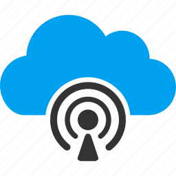 cloud, feed, media, network, news, podcast, radio icon