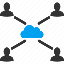 cloud connection, contacts, group, links, people, relations, users icon