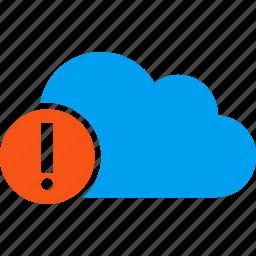 alert, attention, cloud, danger, error, problem, warning icon