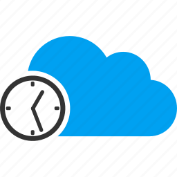 clock, cloud, schedule, time, timer, wait, watch icon