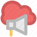 cloud network, information technology, online advertisement, online marketing, speaker sign, wireless communication, wireless technology icon