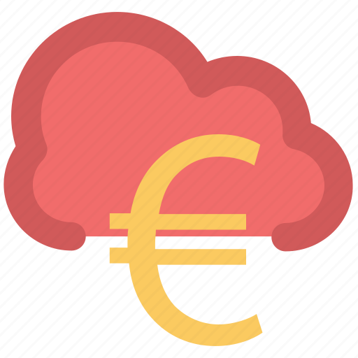 cloud network, currency symbol, euro sign, financial concept, global business, modern technology, online business icon