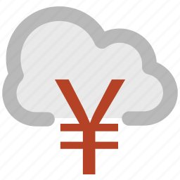 cloud network, currency symbol, financial concept, global business, modern technology, online business, yen sign icon