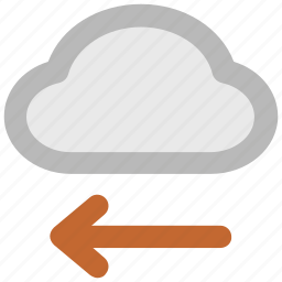 arrow direction, arrow pointing, cloud network, cloud technology, left arrow, wireless network, wireless technology icon