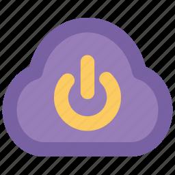 cloud, cloud computing, logoff, network off, power button, powerful service, service shutdown icon