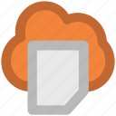 cloud document, cloud hosting, cloud network, data center, data storage, network services, online documentation icon