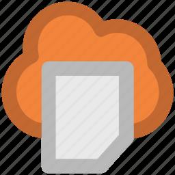cloud document, cloud hosting, cloud network, data center, data storage, network services, online documentation icon
