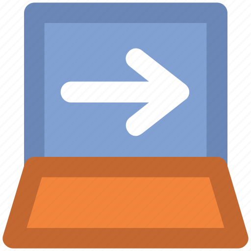 Broadcasting, computing, electronic technology, laptop display, left arrow, modern technology, personal computer icon - Download on Iconfinder