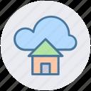 cloud and hut, cloud computing home, cloud network server, cloud server, home and dream cloud, internet cloud technology