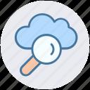 cloud computing concept, cloud find, cloud magnifier, cloud with magnifier, searching cloud computing, sign magnifier icon