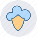 cloud, cloud and shield, safe network, secure networking, security, shield icon