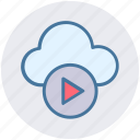 cloud, cloud music, multimedia, music, play, round icon icon