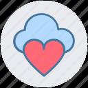cloud computing, cloud heart, cloud love, heart, online dating, online romance icon
