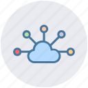 cloud, cloud computing, cloud sharing, cloud structure, network, share icon