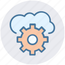 cloud computing, cloud gear, cloud technology, internet cloud with gear, internet configuration setting, settings concept icon