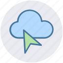 arrow, cloud arrow, cursor, mouse, mouse arrow icon