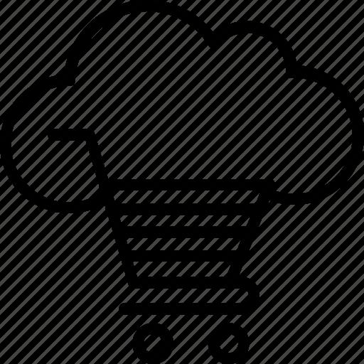 cloud cart, cloud trolley, shopping cart, shopping trolley icon