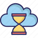 cloud hourglass, cloud timer, hourglass, sandglass icon