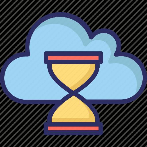 cloud hourglass, cloud timer, hourglass, sandglass icon