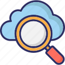 cloud magnifying, cloud search, internet exploring, online search icon