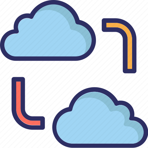 cloud computing, cloud network, cloud sharing icon