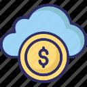online money, web business, dollar in cloud, online business