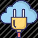internet connection, cloud hosting, power plug, cloud computing
