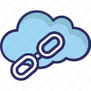 cloud computing, cloud link, link on internet, web link icon